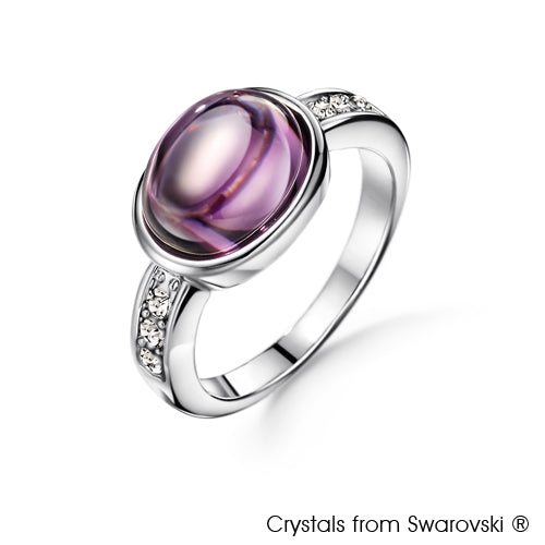 Cabochon Ring Light Amethyst Pure Rhodium Plated Lush Addiction Crystals from Swarovski