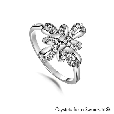 Mystic Knot Ring (Clear Crystal, Pure Rhodium Plated) - Lush Addiction, Crystals from Swarovski®