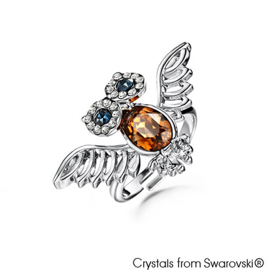 Wisdom Owl Ring (Pure Rhodium Plated) - Lush Addiction, Crystals from Swarovski®