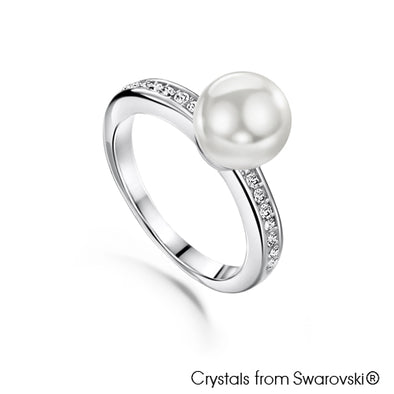 Classic Pearl Ring (Clear Crystal, Pure Rhodium Plated) - Lush Addiction, Crystals from Swarovski®