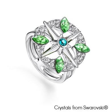 Clover Ring (Peridot, Pure Rhodium Plated) - Lush Addiction, Crystals from Swarovski®