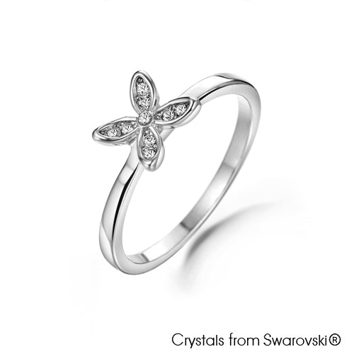 Clover Ring (Clear Crystal, Pure Rhodium Plated) - Lush Addiction