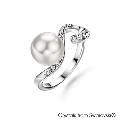 Allure Swarovski Pearl Ring Clear Crystal Pure Rhodium Plated Lush Addiction Crystals from Swarovski