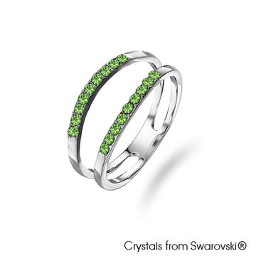 Dual Ring (Peridot, Pure Rhodium Plated) - Lush Addiction, Crystals from Swarovski®