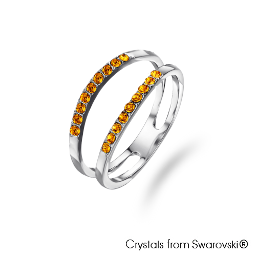 Dual Ring (Topaz, Pure Rhodium Plated) - Lush Addiction, Crystals from Swarovski®