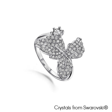Leaf Ring (Clear Crystal, Pure Rhodium Plated) - Lush Addiction