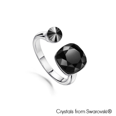 Jet Ring (Jet,  Pure Rhodium Plated) - Lush Addiction, Crystals from Swarovski®