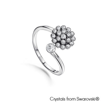 Dahila Ring (Clear Crystal, Pure Rhodium Plated) - Lush Addiction, Crystals from Swarovski®