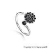 Dahlia Ring (Jet, Pure Rhodium Plated) - Lush Addiction
