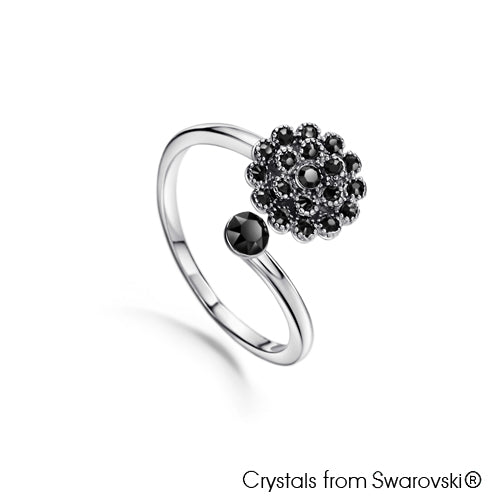 Dahlia Ring (Jet, Pure Rhodium Plated) - Lush Addiction, Crystals from Swarovski®