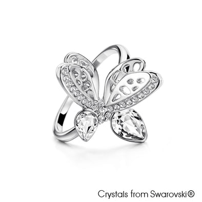 Bee Ring (Clear Crystal, Pure Rhodium Plated) - Lush Addiction, Crystals from Swarovski®