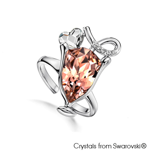 Love Cocktail Ring Vintage Rose Pure Rhodium Plated Lush Addiction Crystals from Swarovski