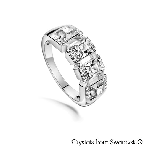 Mosaic Ring (Clear Crystal, Pure Rhodium Plated) - Lush Addiction, Crystals from Swarovski®