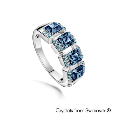 Mosaic Ring (Denim Blue, Pure Rhodium Plated) - Lush Addiction, Crystals from Swarovski®