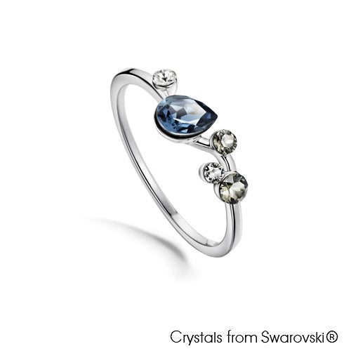 Waterfall Ring (Pure Rhodium Plated) - Lush Addiction, Crystals from Swarovski®