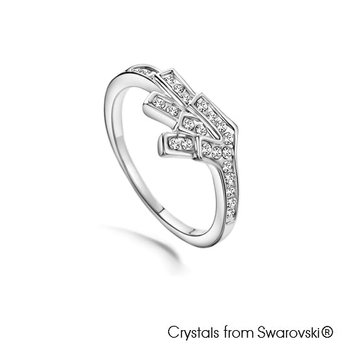 Angel Ring (Clear Crystal, Pure Rhodium Plated) - Lush Addiction, Crystals from Swarovski®
