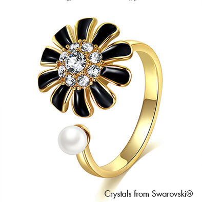 Daisy Ring Jet Pure Rhodium Plated Lush Addiction Crystals from Swarovski