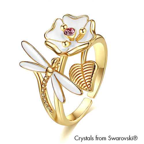Floral & Faunas Ring Amethyst 18K Gold Plated Lush Addiction Crystals from Swarovski