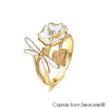 Floral & Faunas Ring Clear Crystal 18K Gold Plated Lush Addiction Crystals from Swarovski
