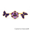 Grazia Open Double Ring Tanzanite 18K Gold Plated Lush Addiction Crystals from Swarovski