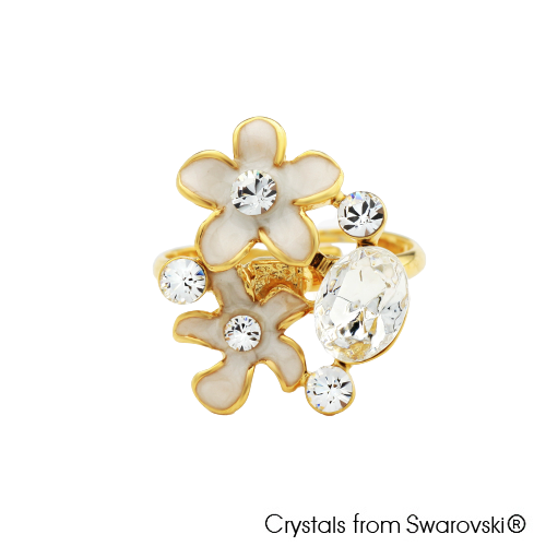 Calantha Ring Clear Crystal 18K Gold Plated Lush Addiction Crystals from Swarovski