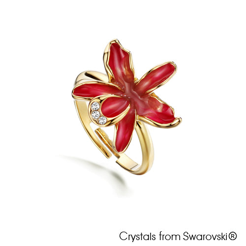 Cattleya Ring Rose 18K Gold Plated Lush Addiction Crystals from Swarovski