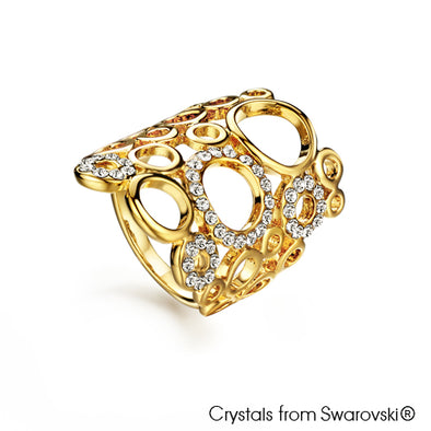 Molecules Ring (Clear Crystal, 18K Gold Plated) - Lush Addiction, Crystals from Swarovski