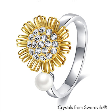Sunflower Ring Clear Crystal 18K Gold and Pure Rhodium Plated Lush Addiction Crystals from Swarovski