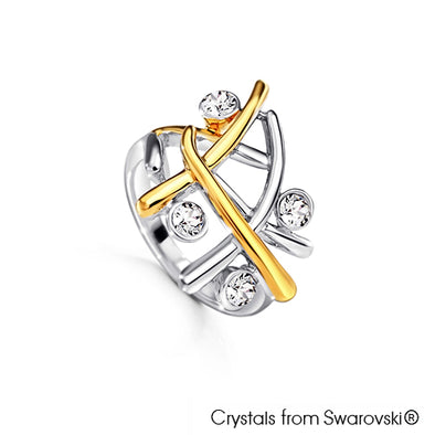 Aura Ring (18K Gold Plated and Pure Rhodium Plated) - Lush Addiction, Crystals from Swarovski®