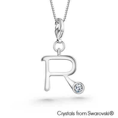 Alphabet R Charm Necklace (Clear Crystal, Pure Rhodium Plated) - Lush Addiction, Crystals from Swarovski®