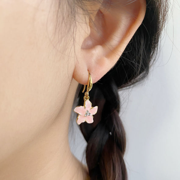 Fleur Earrings 18K Gold Plated Rose Pink Lush Addiction Crystals from Swarovski