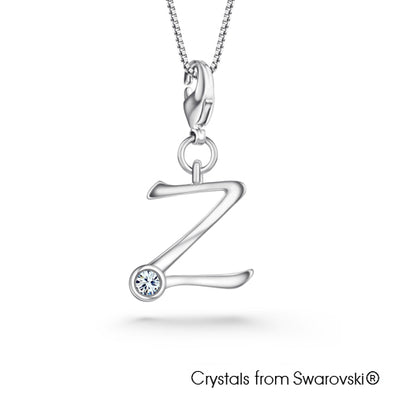 Alphabet Z Charm Necklace (Clear Crystal, Pure Rhodium Plated) - Lush Addiction, Crystals from Swarovski®