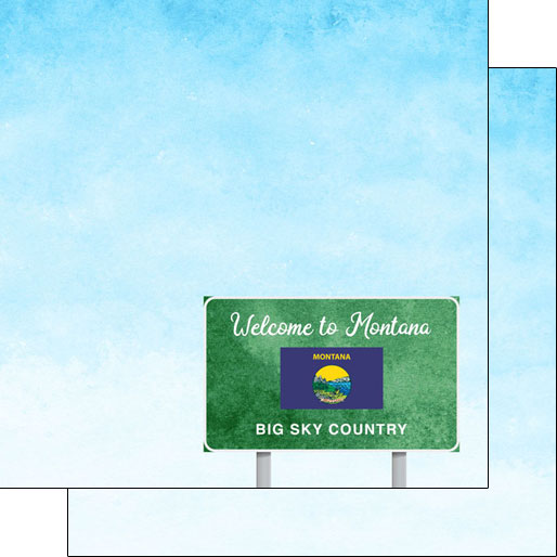 Montana Welcome Road Sign 12x12 Paper