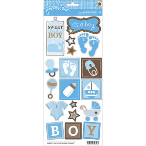 Pebbles Baby Boy Accent & Phrase Stickers Sweet Baby Boy