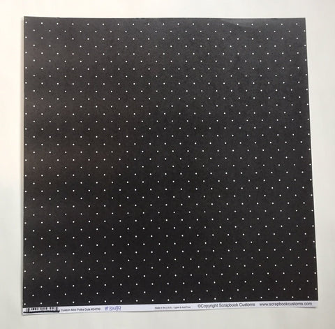 Mini Polka Dots White on Black