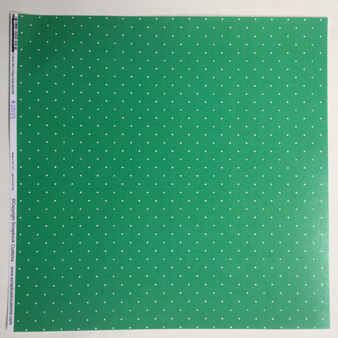 Custom White Mini Polka Dots on Green