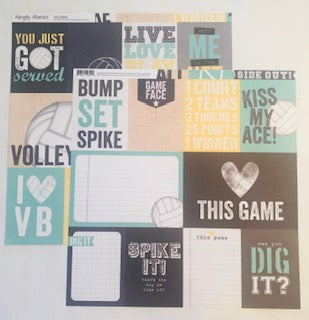 Volleyball Journaling Card Elements Paper