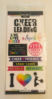 Neon Cheerleading Stickers and Sports Cut-Outs