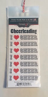 Repeating I Love Cheer Stickers