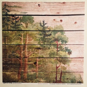 Wood Plank Watercolor Forest Paper