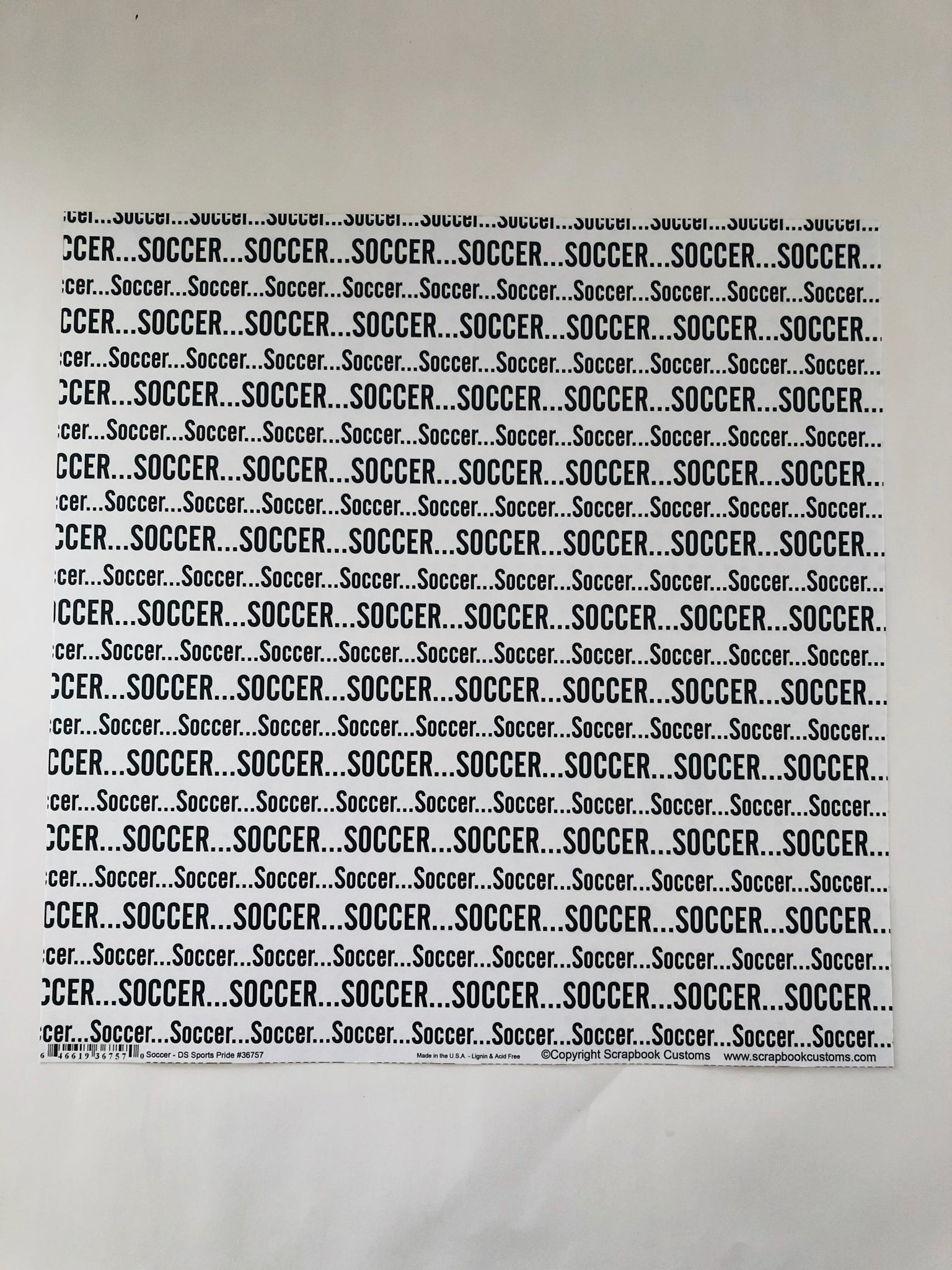 Soccer Words Repeated Paper