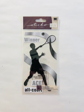 Tennis Player Male Silhouette Sticker
