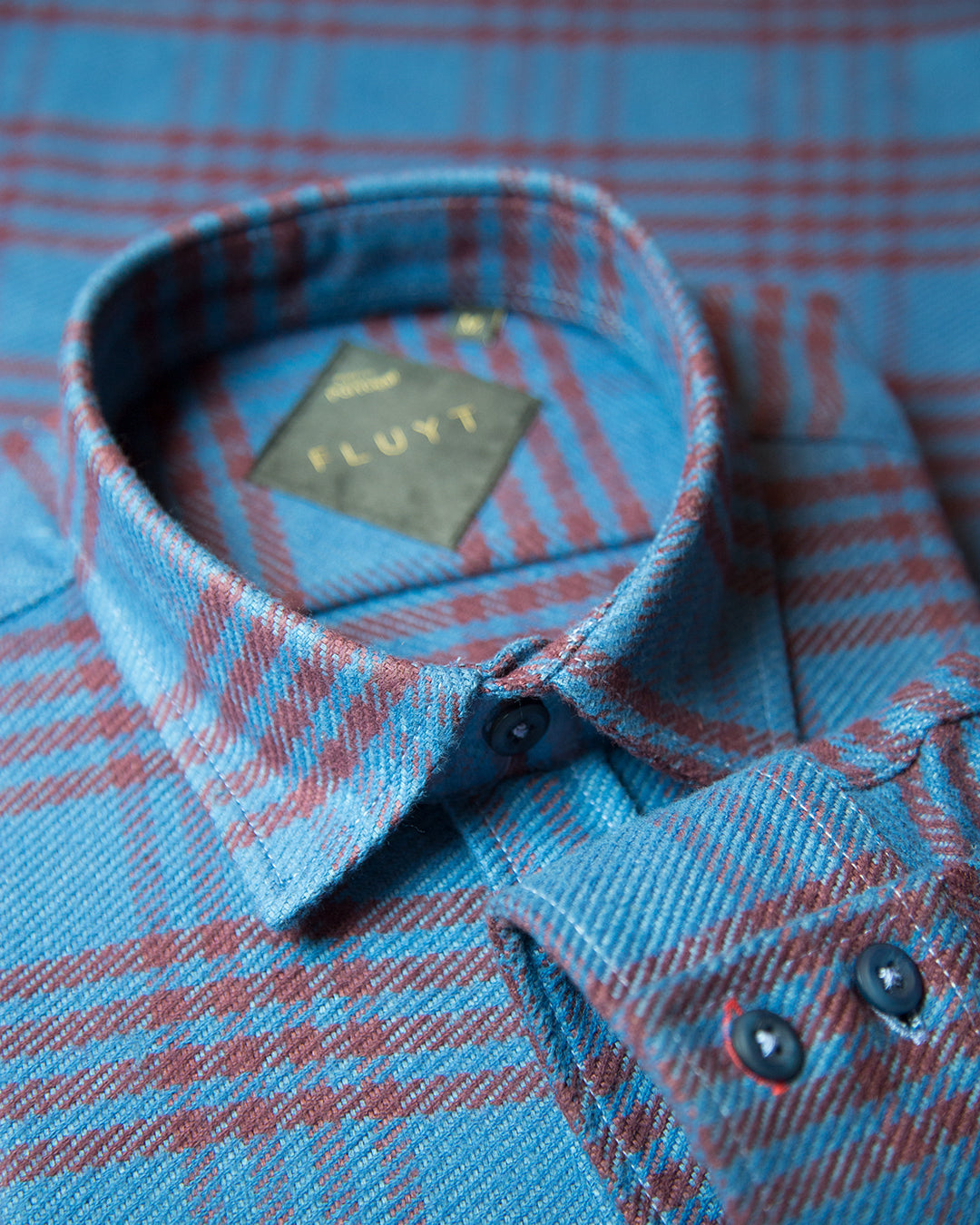 Blue Flannel with Red Stripes