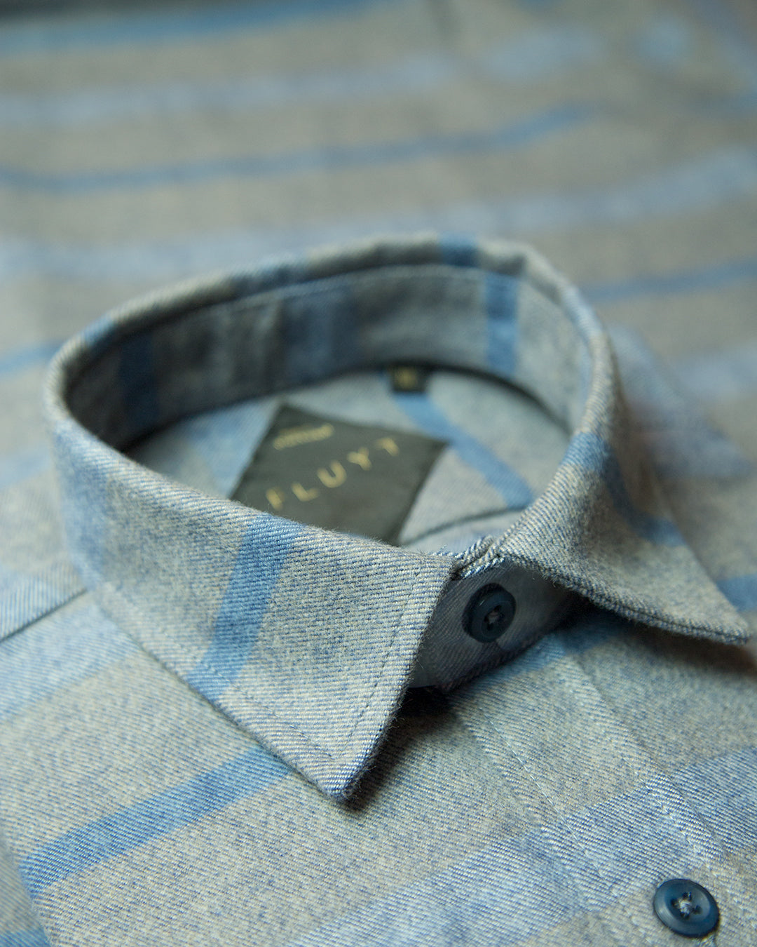 Grey Flannel Shirt with Blue Stripes