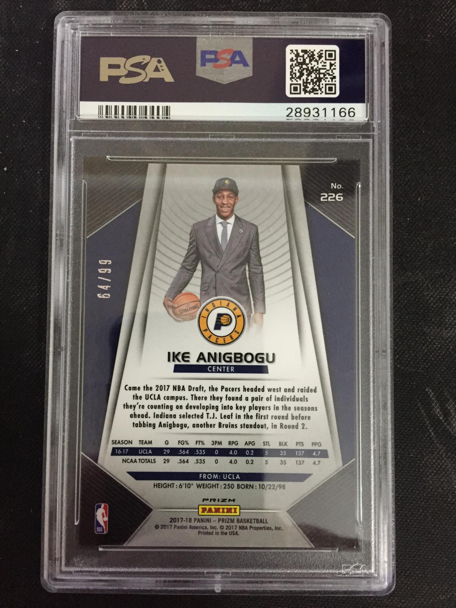 Ike Anigbogu 2017 Prizm Rookie Blue Ice 64/99 PSA Mint 9 - jjb-hobby-crafts