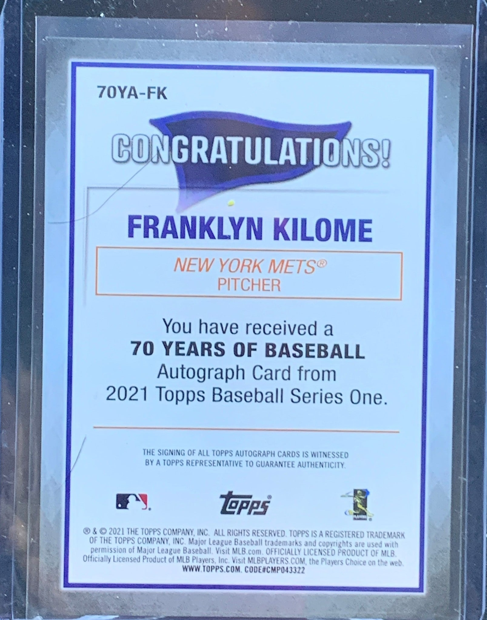 Franklyn Kilome 2021 Topps Series 1 70 Years of Baseball Rookie Autograph