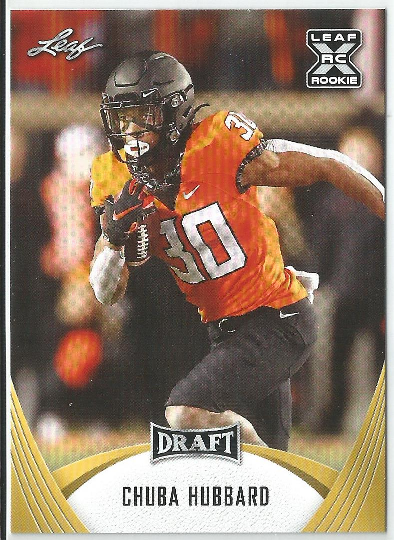 Chuba Hubbard 2021 Leaf Draft Rookie Card Gold Parallel #16