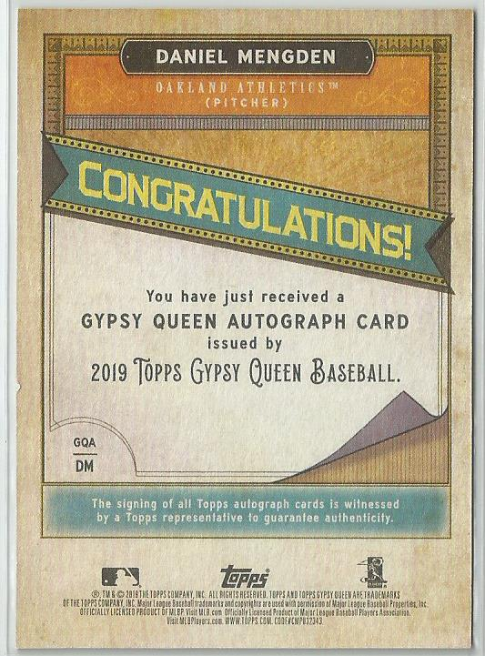 Daniel Mengden 2019 Topps Gypsy Queen Autograph #GQA-DM On Card - jjb-hobby-crafts