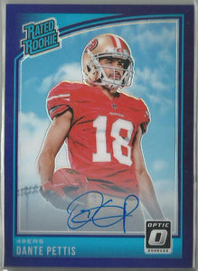 Dante Pettis 2018 Optic Rated Rookie Purple Prizm Autograph 22/35 On-Card