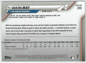 Dustin May 2020 Topps Complete Set Series 1 Rookie Card #235 Gold Star Boarder